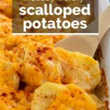 Scalloped Potatoes with text overlay