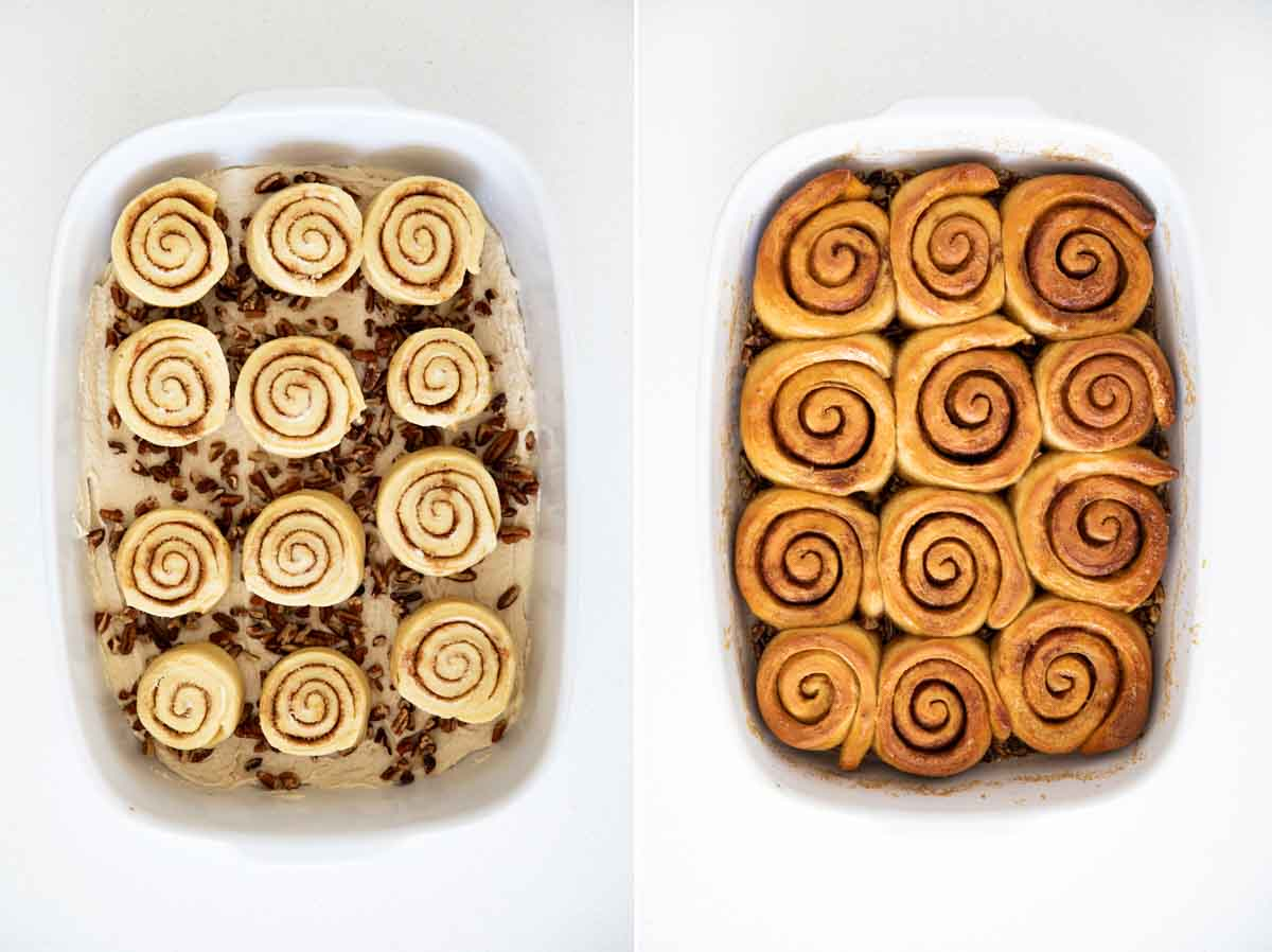 Sticky buns in a baking dish before and after baking