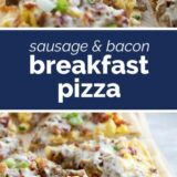 Breakfast Pizza with text in the center