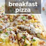breakfast pizza with text overlay