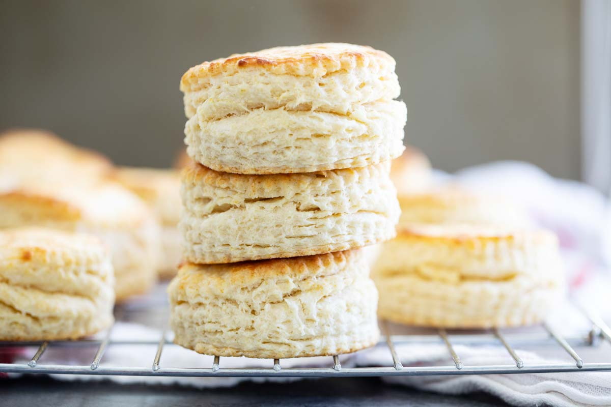 stack of homemade buttermilk biscuits