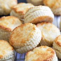 homemade buttermilk biscuits on a cooling rack