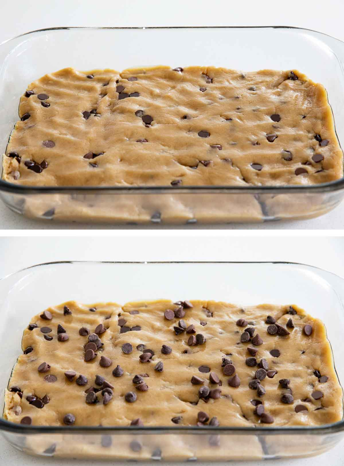 pressing cookie dough into a baking dish