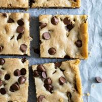overhead view of chocolate chip cookie bars