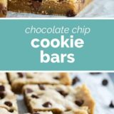 chocolate chip cookie bars with text in the center