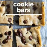 chocolate chip cookie bars with text overlay