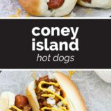Coney Island Hot Dogs with text in the middle
