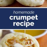 Crumpets with text in the middle