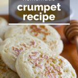 Homemade crumpets with text overlay