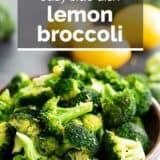 Lemon Broccoli with text overlay