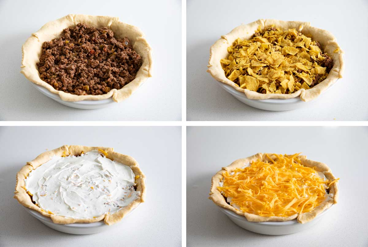 steps for filling taco pie