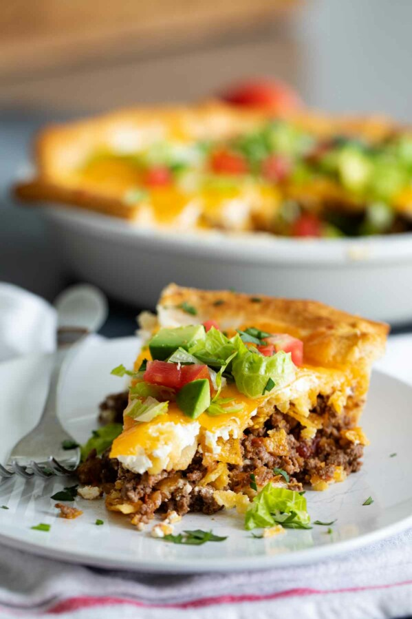 slice of taco pie on a plate