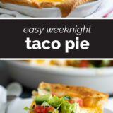 Taco pie with text in the center