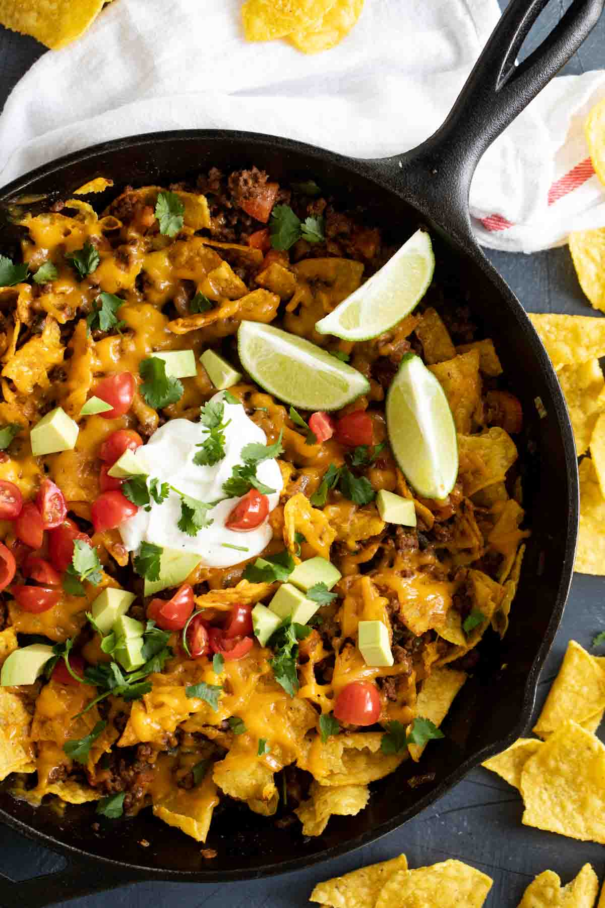 overhead view of taco skillet with tortilla chips