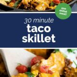Taco Skillet with text in the center