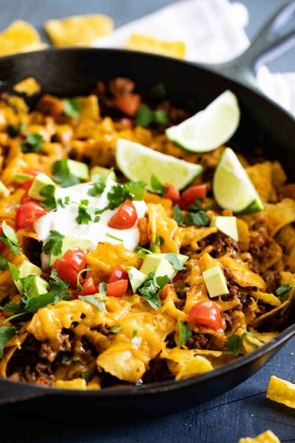cast iron skillet filled with taco skillet