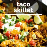 Taco Skillet with text overlay