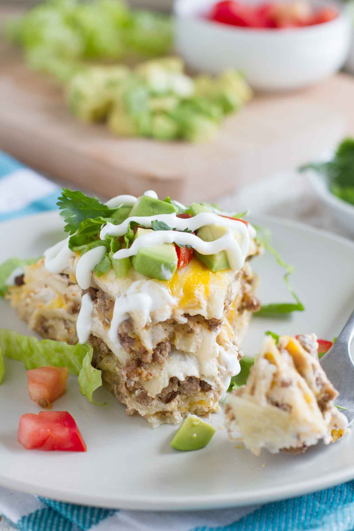 taco tortilla stack with a bite taken from it