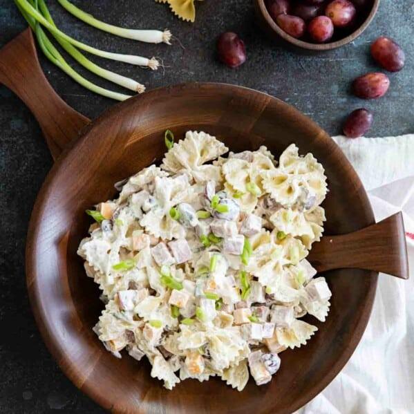 overhead view of bow tie pasta salad
