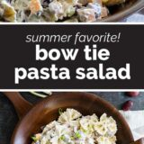 Bow Tie Pasta Pasta Salad with text in the middle