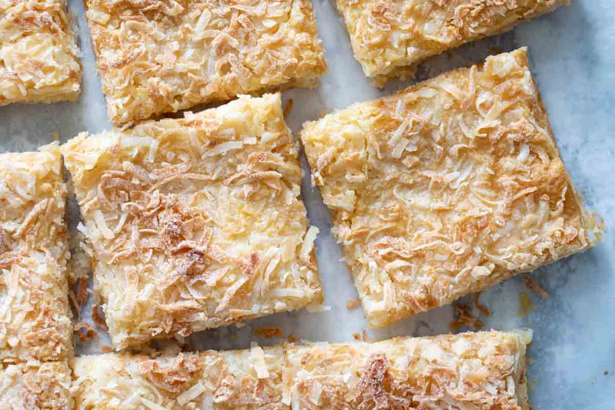 overhead view of sliced coconut bars