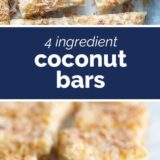 4 Ingredient Coconut Bars with text in the center