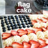 flag cake with text overlay