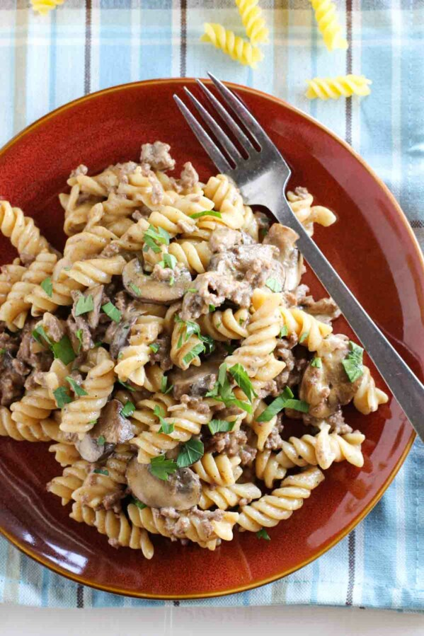 overhead view of ground beef stroganoff on a plate with a fork