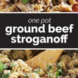 One Pot Ground Beef Stroganoff with text in the middle