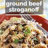 One Pot Ground Beef Stroganoff with text overlay