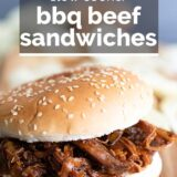 Slow Cooker BBQ Beef Sandwich with text overlay