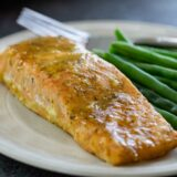 Honey Mustard Salmon Fillet on a plate with green beans