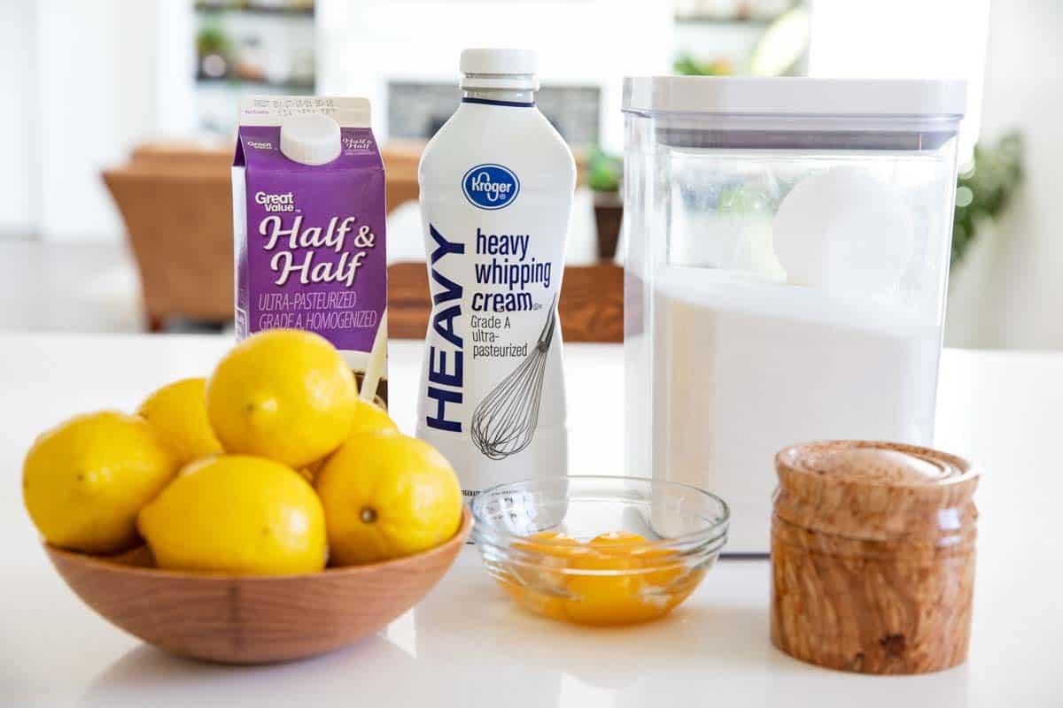 ingredients to make lemon ice cream