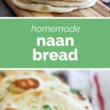 homemade naan bread with text in the middle