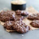 chocolate no bake cookies on brown paper