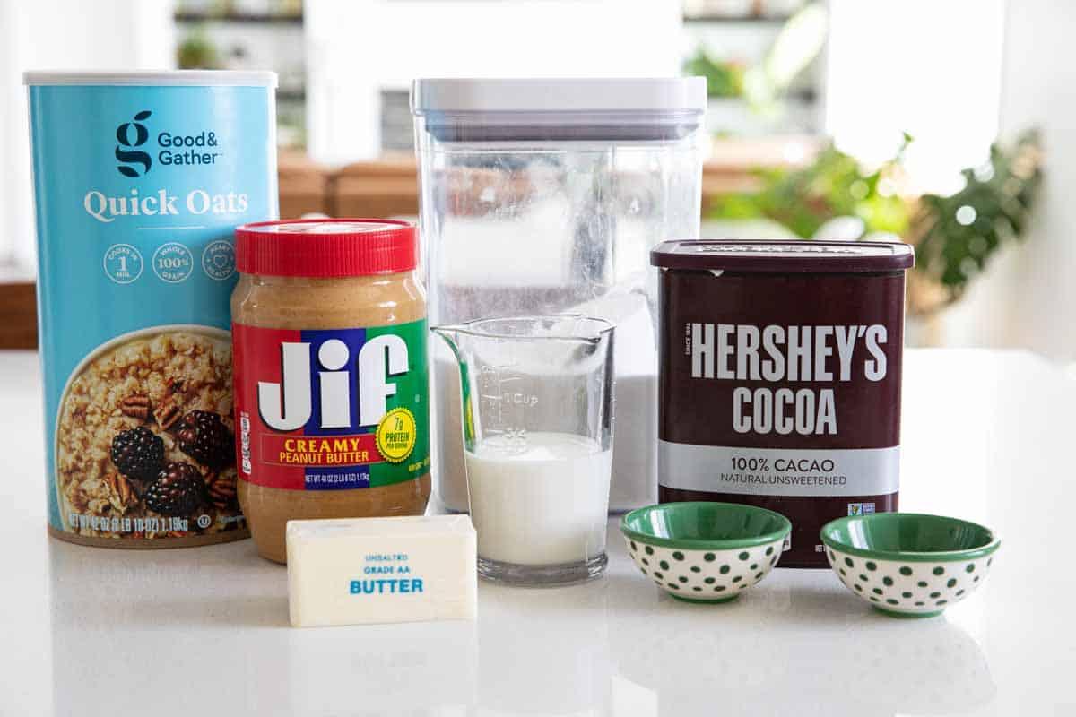 ingredients needed to make no bake cookies