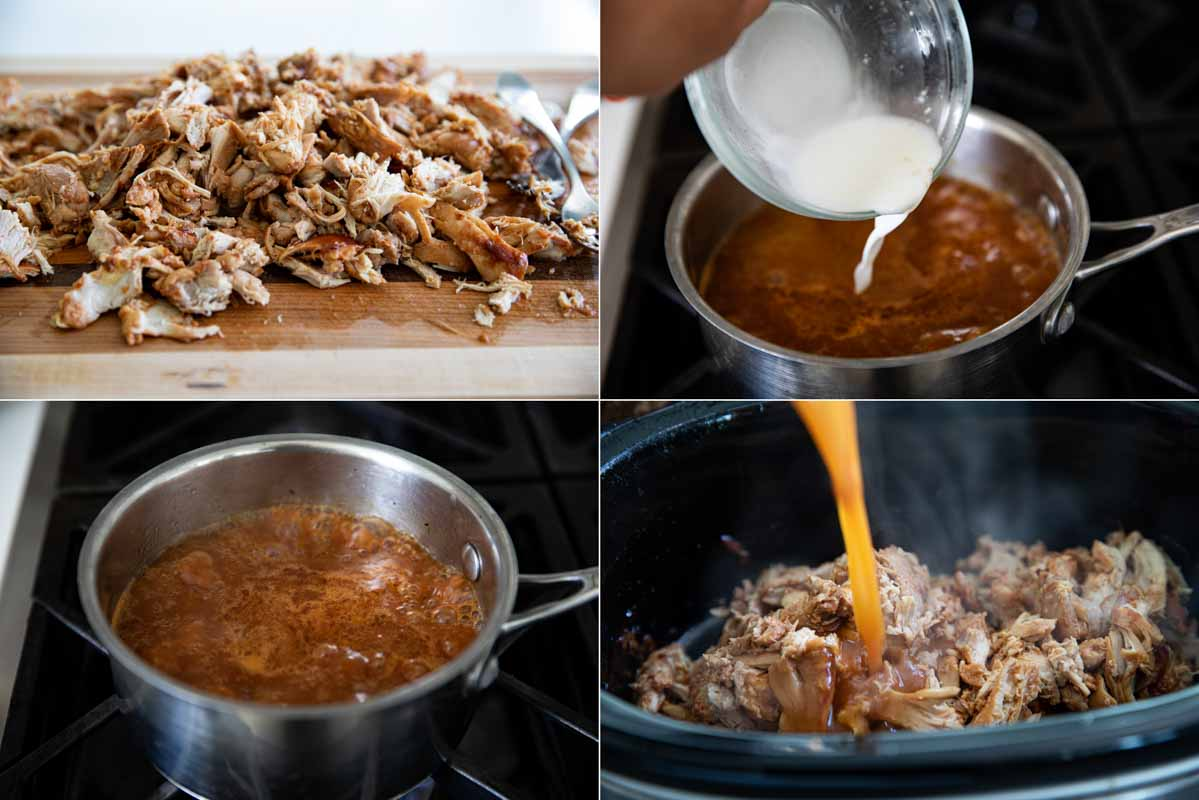 shredding chicken and cooking the sauce for slow cooker teriyaki chicken sandwiches