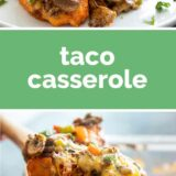 taco casserole with text in the center