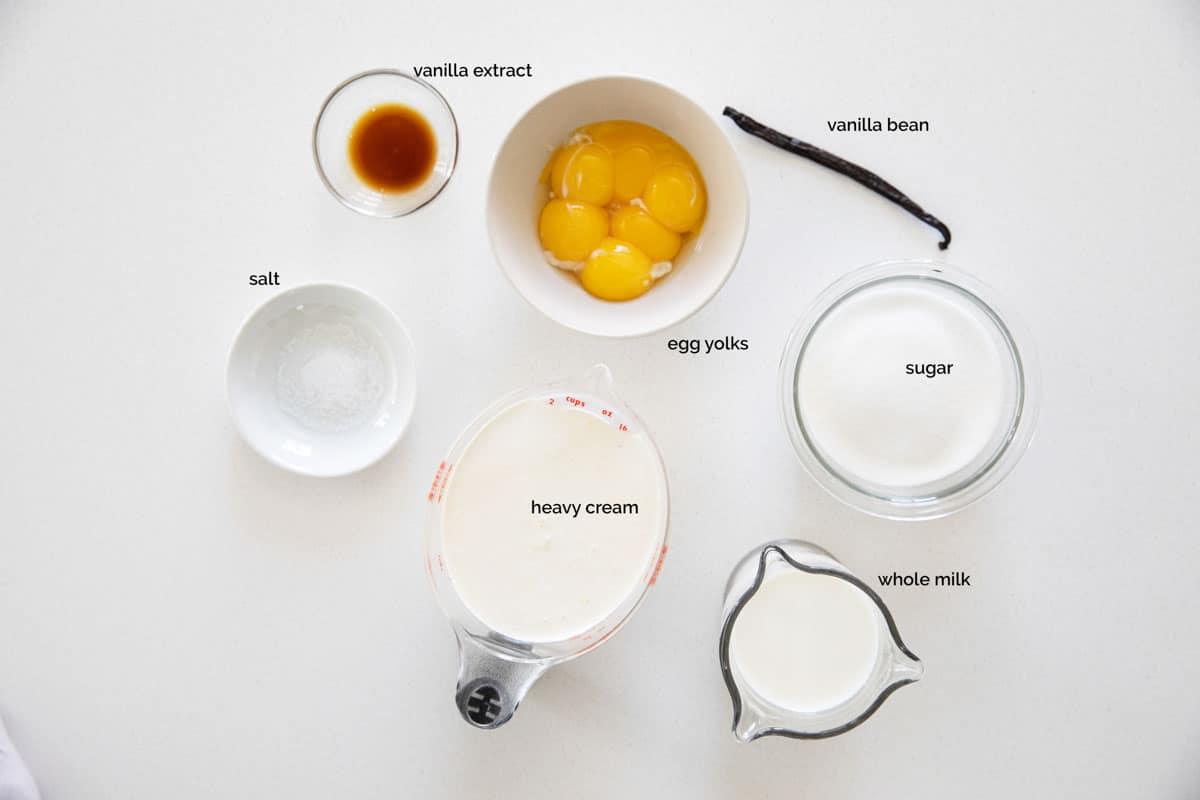 ingredients needed to make homemade vanilla ice cream