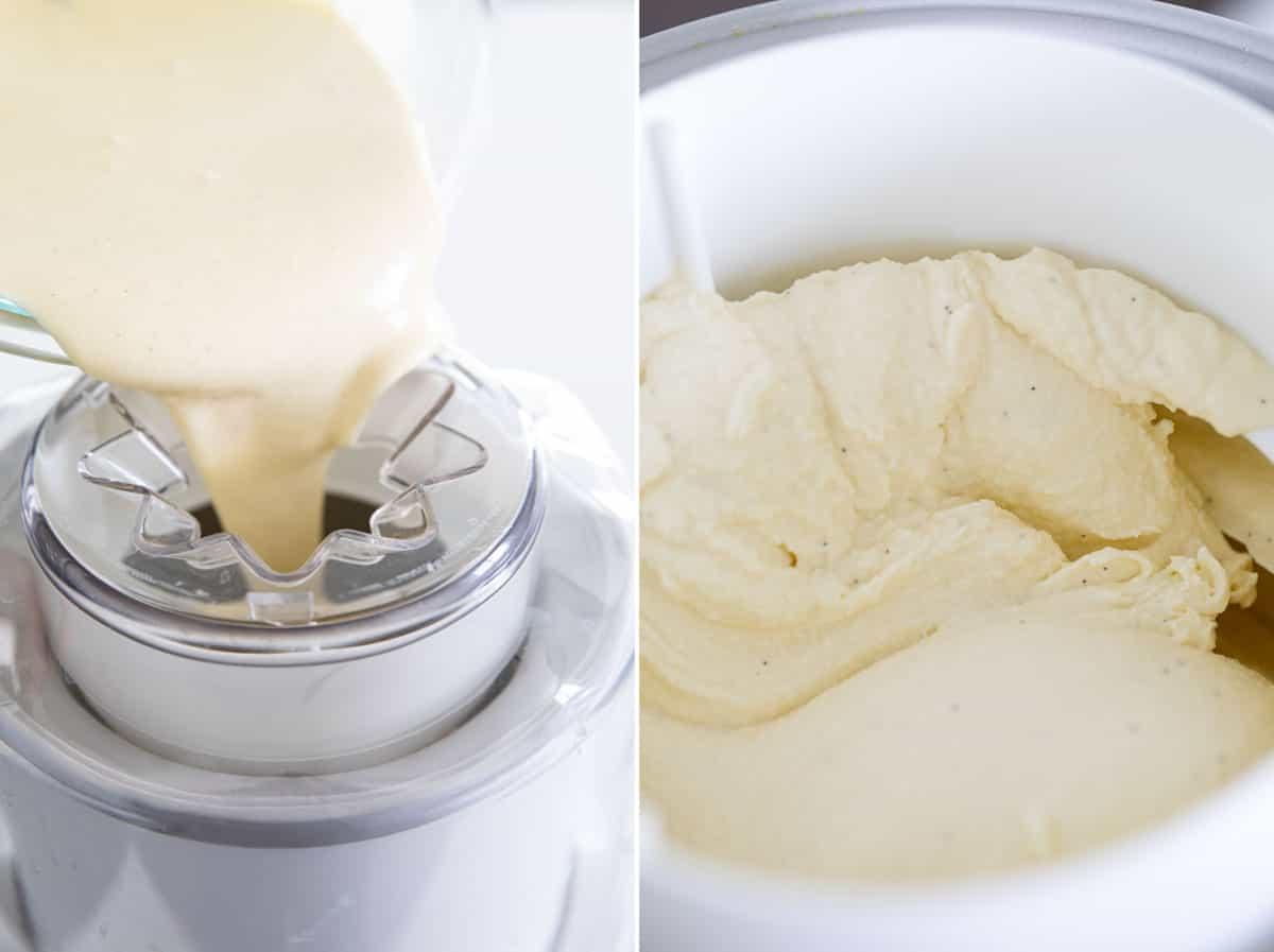 freezing custard in an ice cream machine