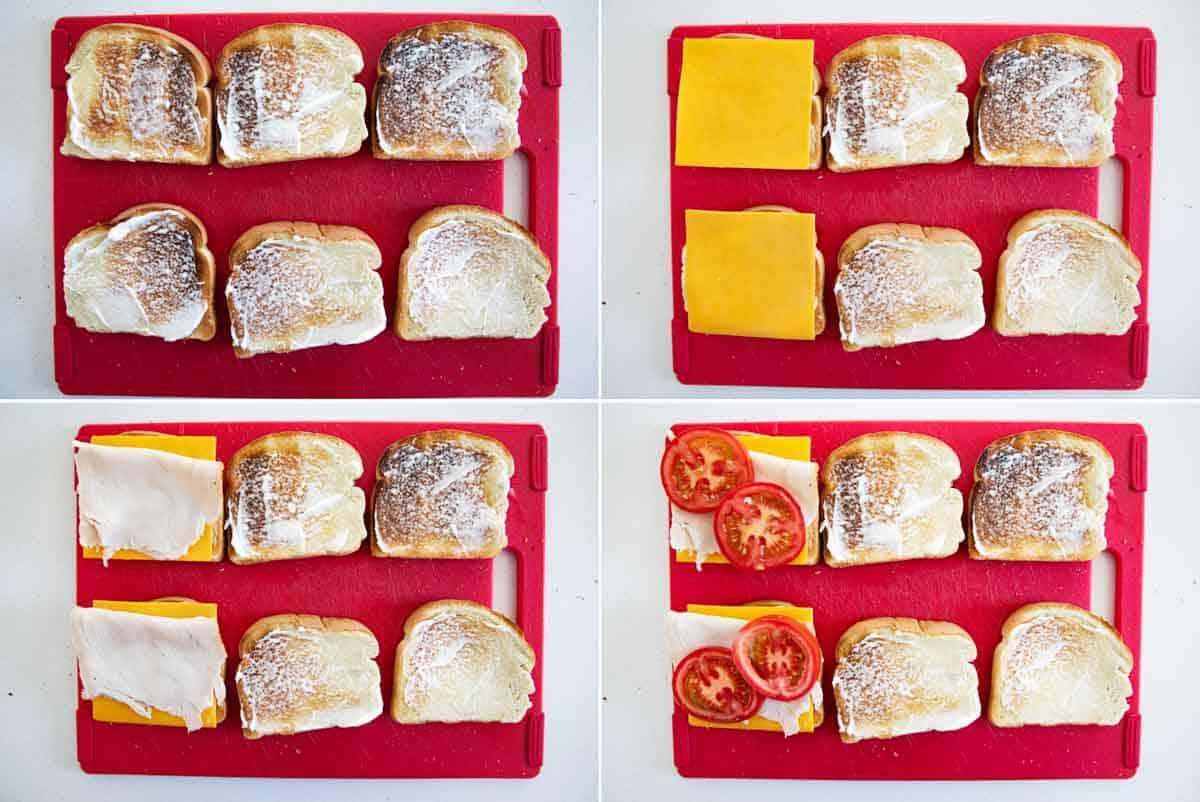 steps to assemble a club sandwich
