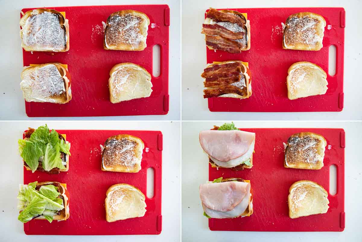stacking a club sandwich