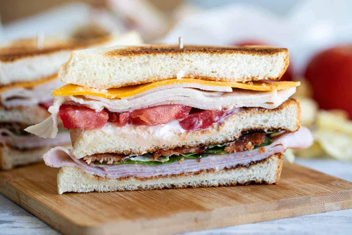 club sandwich sliced to show layers