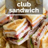 club sandwich with text overlay