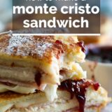 Monte Cristo Sandwich with text overlay