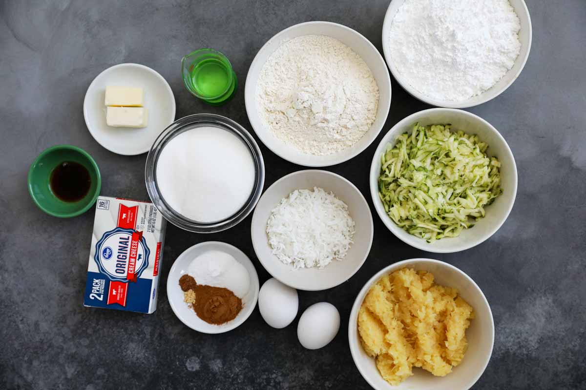 ingredients to make zucchini cake with cream cheese frosting