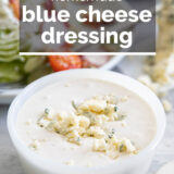 blue cheese dressing with text overlay