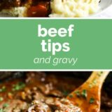 Beef Tips and Gravy with text in the middle
