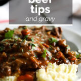Beef Tips and Gravy with text overlay