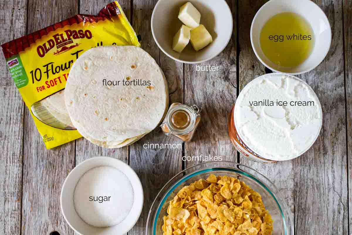 ingredients needed to make fried ice cream with cinnamon sugar tortilla bowls